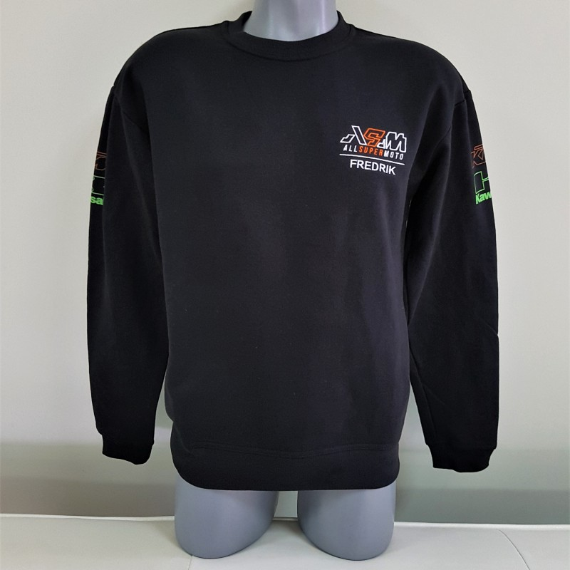Sweater - 300 gsm. 65% cotton, 35% polyester, embroidered logo + name on chest, silk-screen printed logos on sleeves. Size: S,M and L