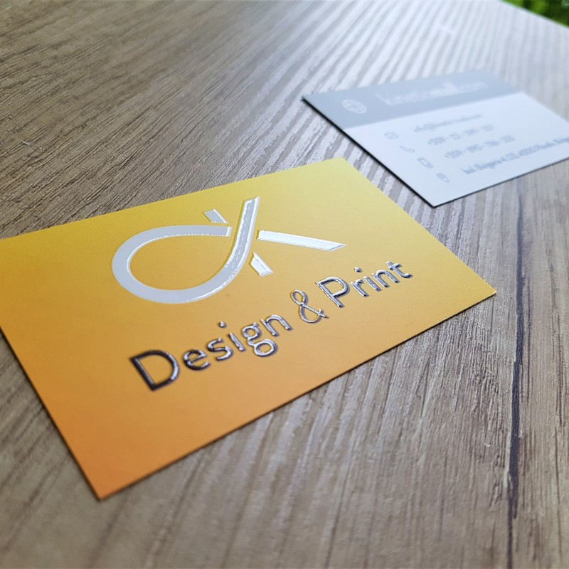 350 gsm paper, printed 4+4, matt lamination and partial UV varnishing, size: 9 x 5 cm