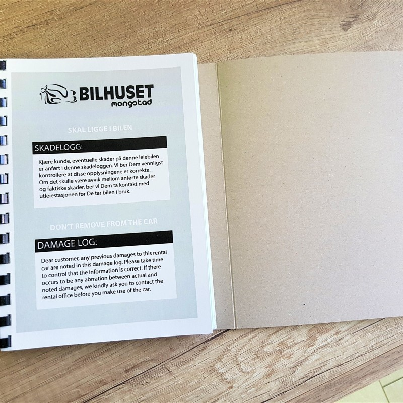 60 gsm carbonless paper, perforation of each 2-nd sheet+ PVC spiral, black print, size: A5