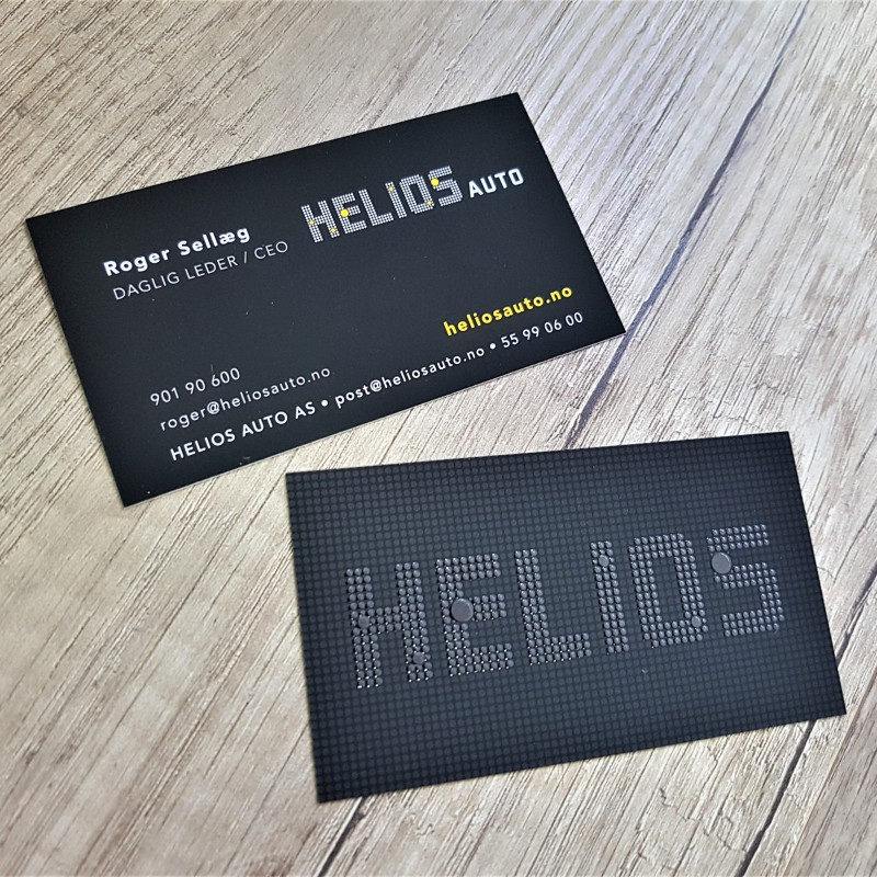 350 gsm paper, printed 4 + 4 CMYK + soft touch laminate and volume UV varnished logo on one side. Size: 9 x 5 cm