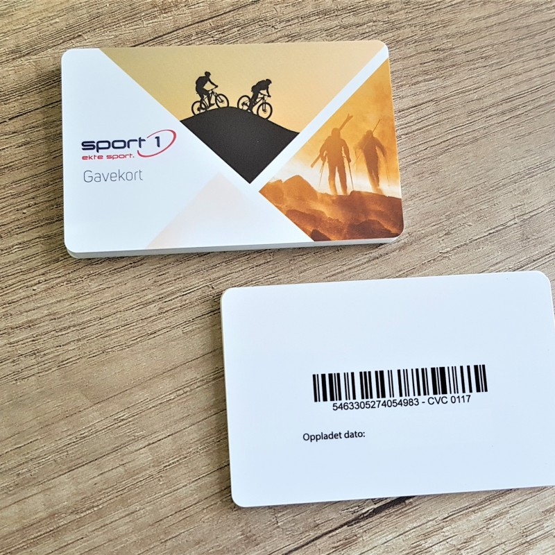 1 mm solid PVC , 4+1 with matt lamination, barcode, size: 8.6 x 5.4 cm