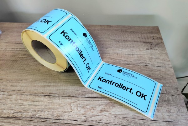 NORWEGIAN OILFIELD SUPPLY stickers on roll