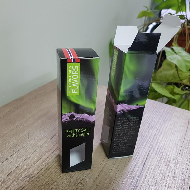 270 gr. Zenith cardboard, 4+0 CMYK + glossy lamination, size: 4.3 x 16.9 x 4.3 cm