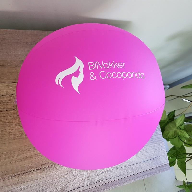 Pink PVC, 1 color printed logo. Size: 260 mm diameter
