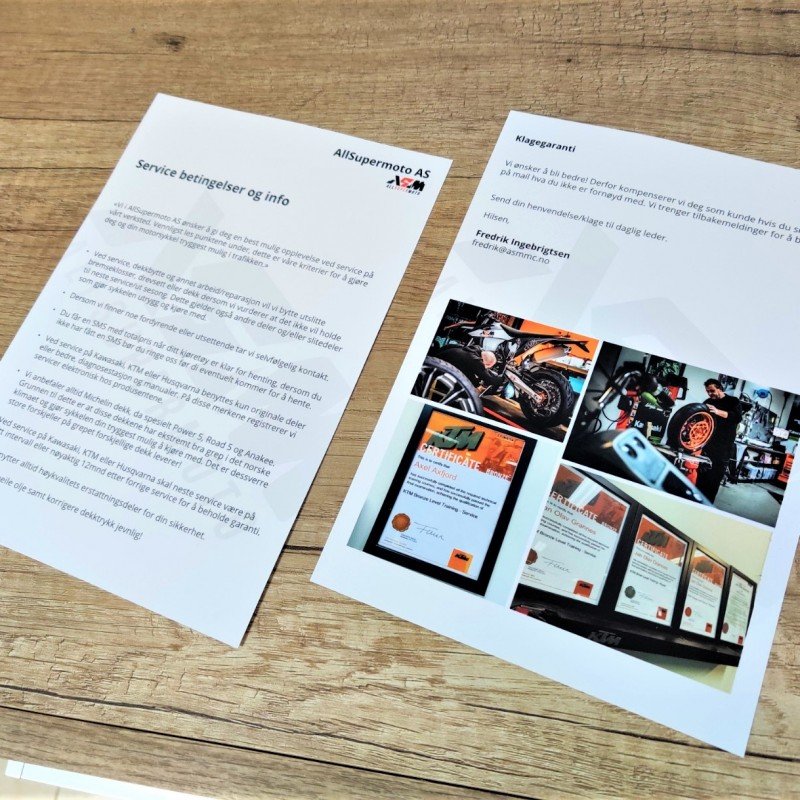 ASM Terms & Conditions leaflets