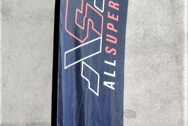 L size 0.9x4 m+base, SUB inks, polyester flag textile