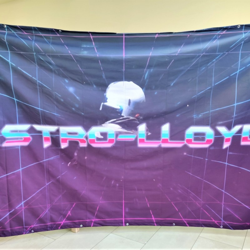 200 x 300 cm, 210 gsm white polyester textile, CMYK, Sub Inks, after 50 cm on all sides, cut to size, sewed hems