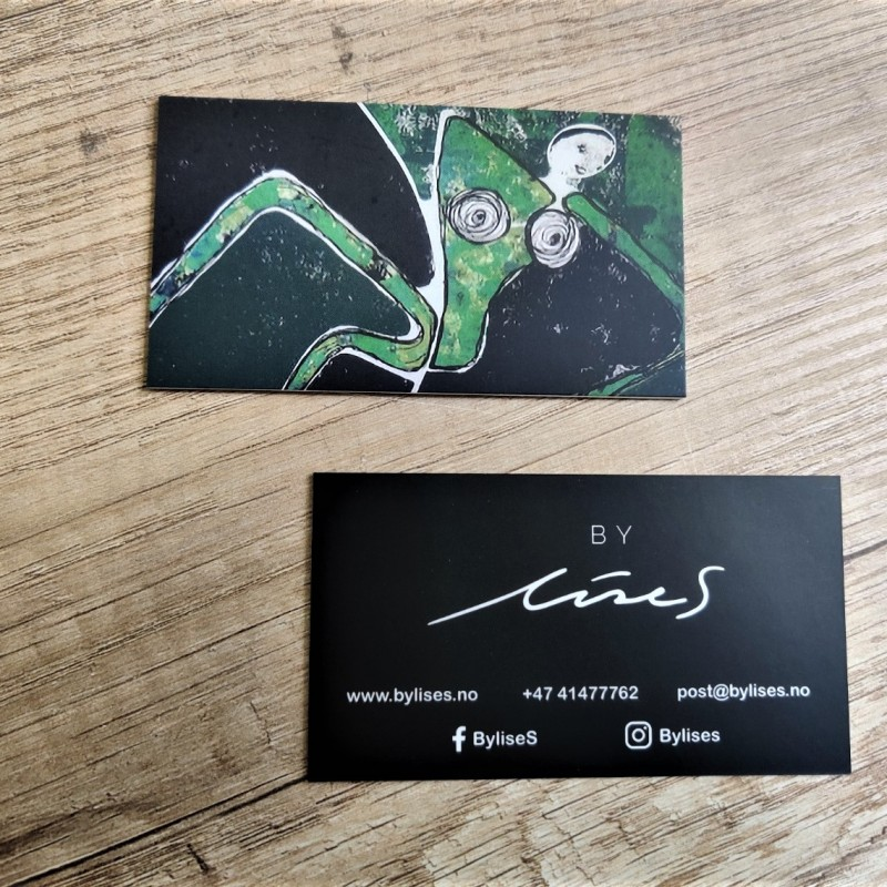 9 x 5 cm, 350 gr. + matt lamination, CMYK 1+4