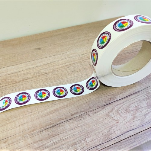 Ø 3 cm, PP foil with laminate and acrylic glue, digital, CMYK, each rolls contains 1000 stickers