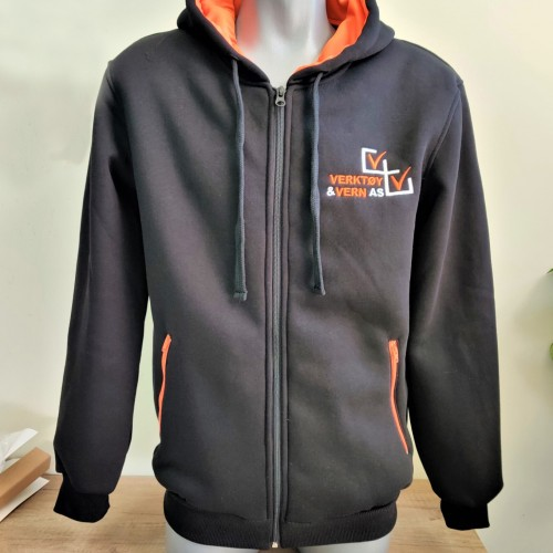XS - XXL, 75% cotton / 25% polyester, 320 gsm - black colour fabric, embroidered logo on the chest, laces, black front zipper, orange side zippers and orange inside hoodie, individual packaging in a polybag
